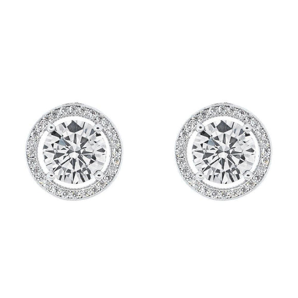 WHITE GOLD HALO CZ STUD EARRINGS, SILVER SIMULATED DIAMOND EARRINGS