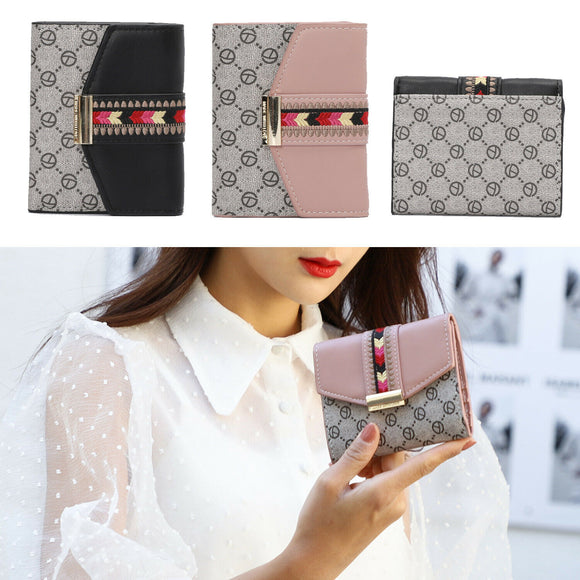 Women's Embroidery Small Trifold Short Wallet PU Card Holder Organizer Purse US