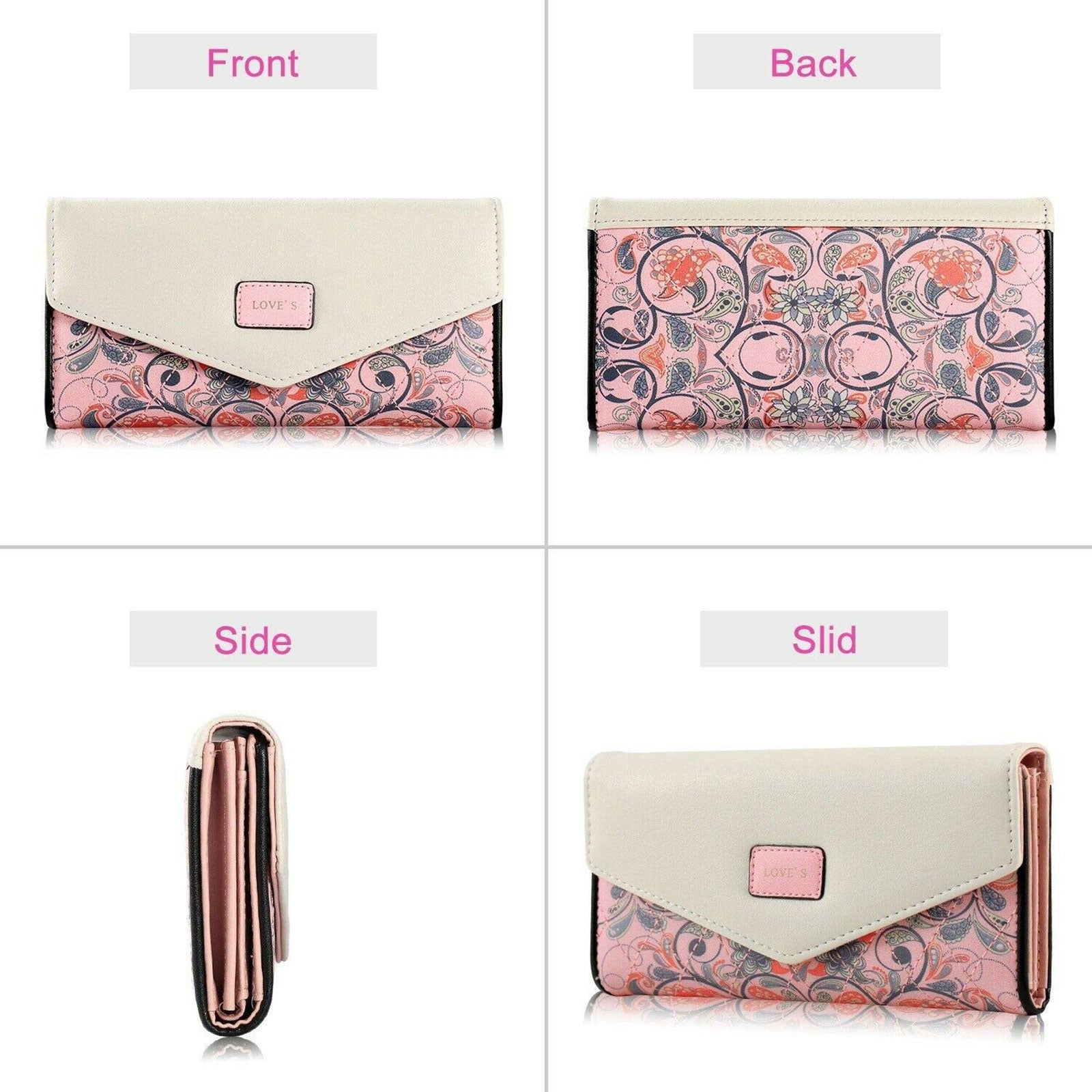 Women's Long Wallet, Floral Printed PU Leather Purse Credit Card Clutch,checkbook picktookshop.myshopify.com [sale] [online]