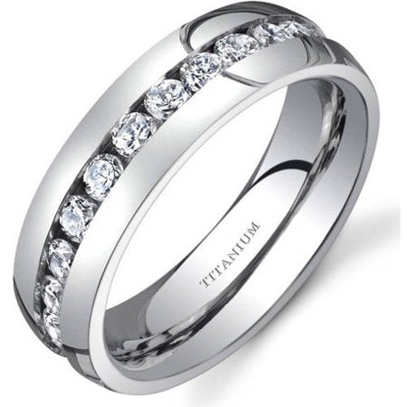 Women's 6mm Cubic Zirconia Eternity Wedding Band Ring in Titanium