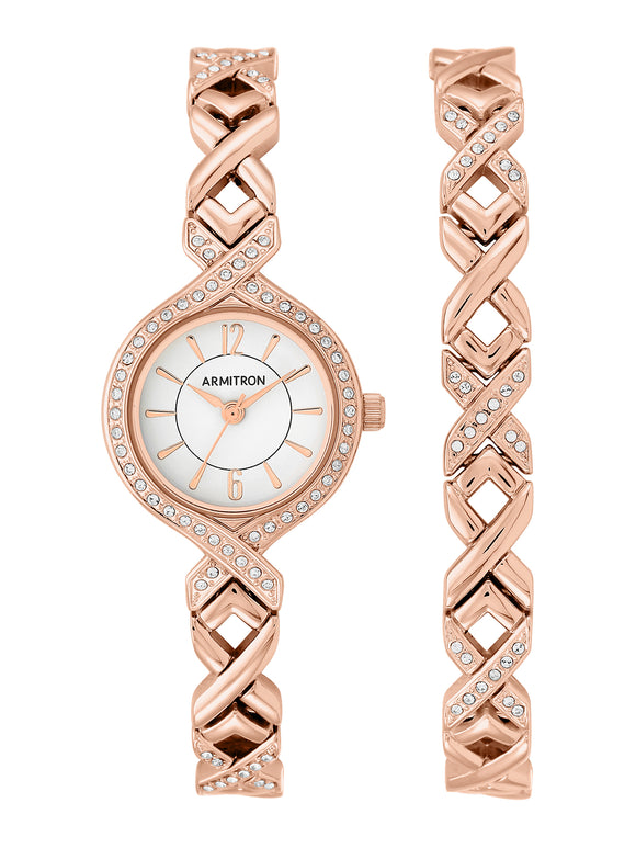 WOMEN'S ROSE GOLD ROUND DRESS WATCH SET
