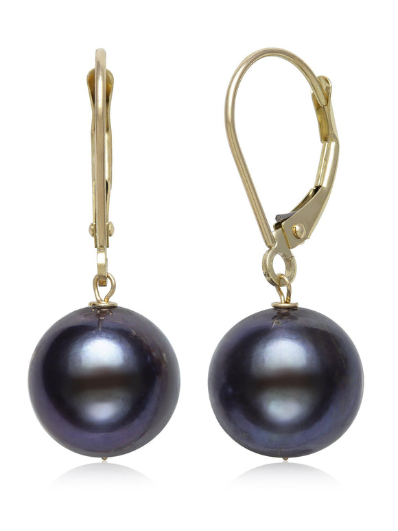 CULTURED FRESHWATER WHITE PEARL LEVER BACK DROP EARRINGS