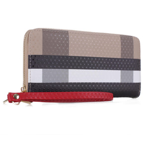 ZIP AROUND WRISTLET LONG WALLET CHECKBOOK CLUTCH-BROWN/RED