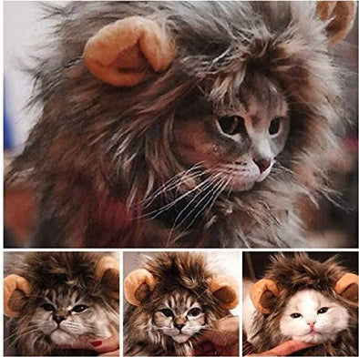 Cute Pet Cat Costume Lion Mane with Ears for Small Cats Up To 15lbs