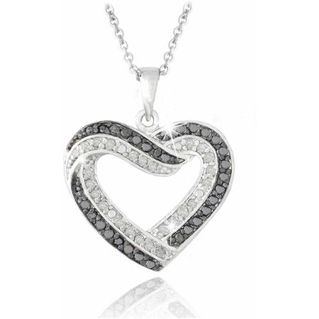 Black and White Diamond Silver-Tone Open Heart Necklace picktookshop.myshopify.com [gogle] [sale] [online]