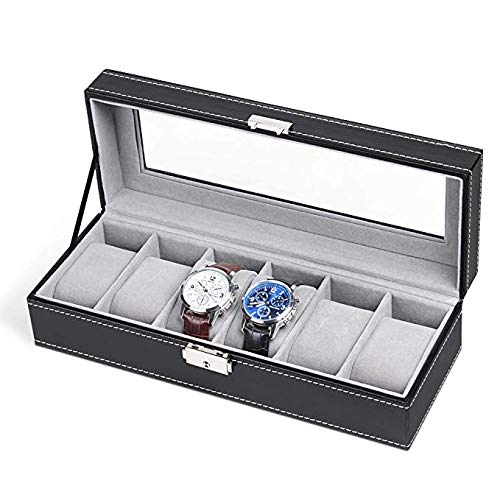 6 Slot Leather Watch Box Display Case Organizer Glass Jewelry Storage Black picktookshop.myshopify.com [gogle] [sale] [online]
