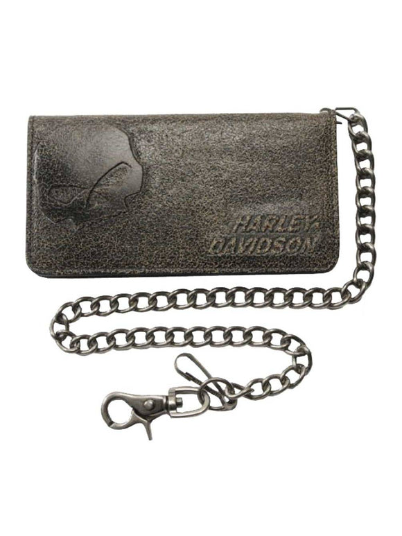 MEN'S BURNISHED BI-FOLD SKULL BIKER CHAIN WALLET