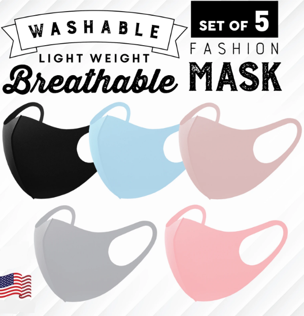 NEW 3D Unisex Face Mask Washable Reusable Breathable 5 Colors