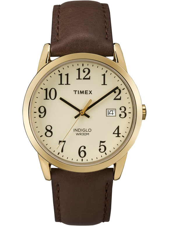 MEN'S EASY READER GOLD-TONE WATCH, BROWN LEATHER STRAP