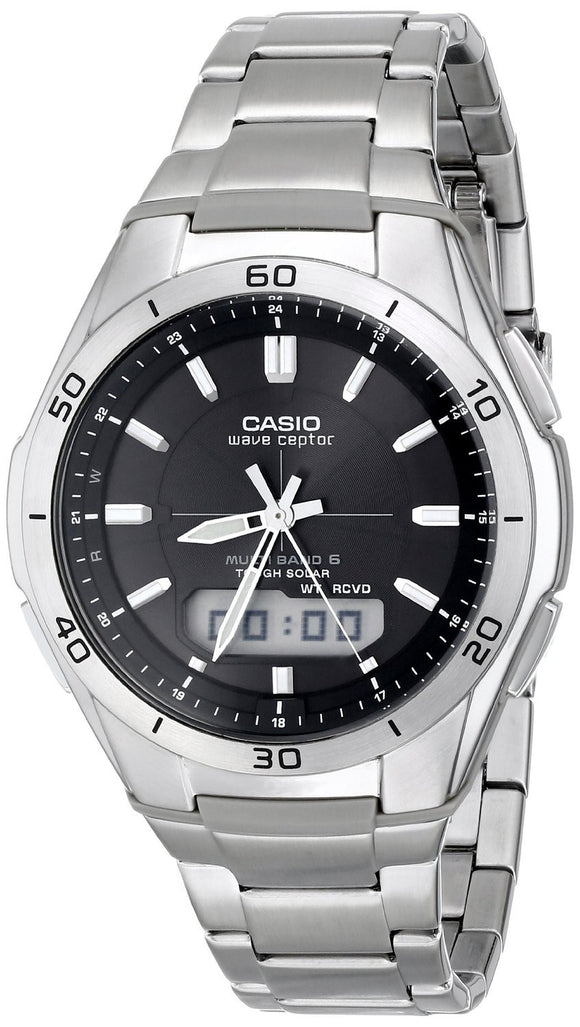 CASIO MEN'S WAVECEPTOR SOLAR ATOMIC ANA-DIGI WATCH, SILVER