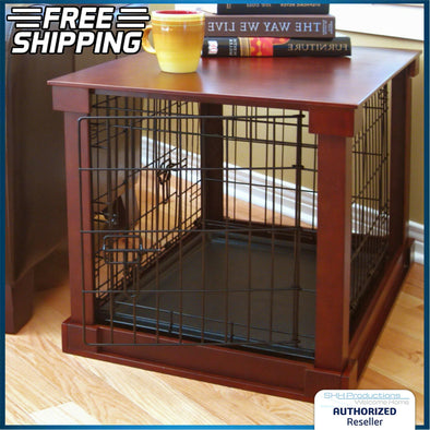 Indoor Dog Crate Wooden Pet Kennel Home Side End Table Wire Cage Cover W/ Tray