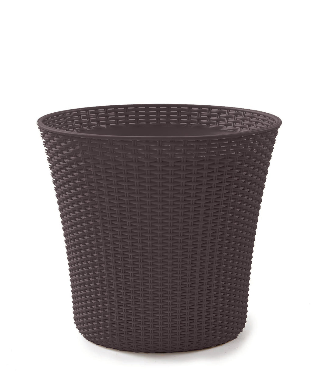 Conic Resin Rattan Planter, Whiskey Brown