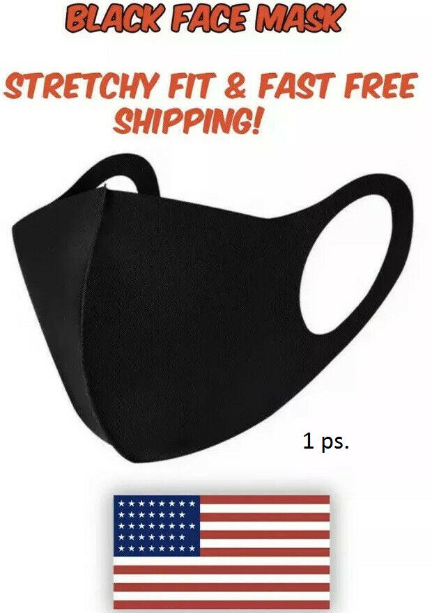 Black Face Mask Fashion Unisex Reusable Washable Cover Mask Men Women Made USA