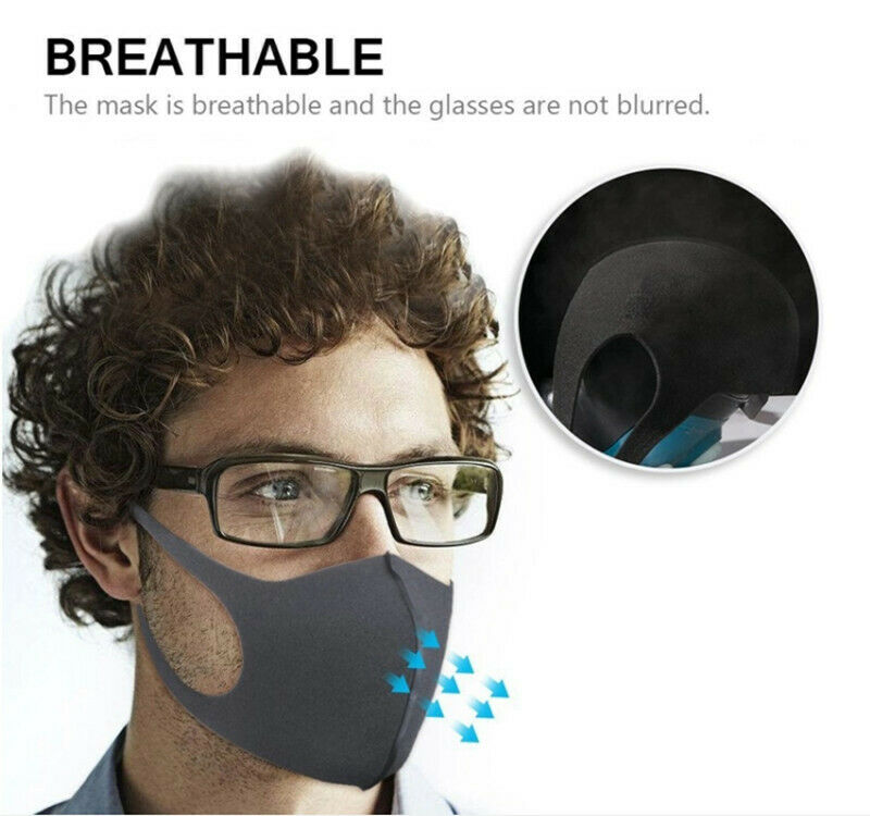 REUSABLE FACE MASK, WASHABLE, BLACK, BREATHABLE UNISEX STRETCH COTTON, USA, cat