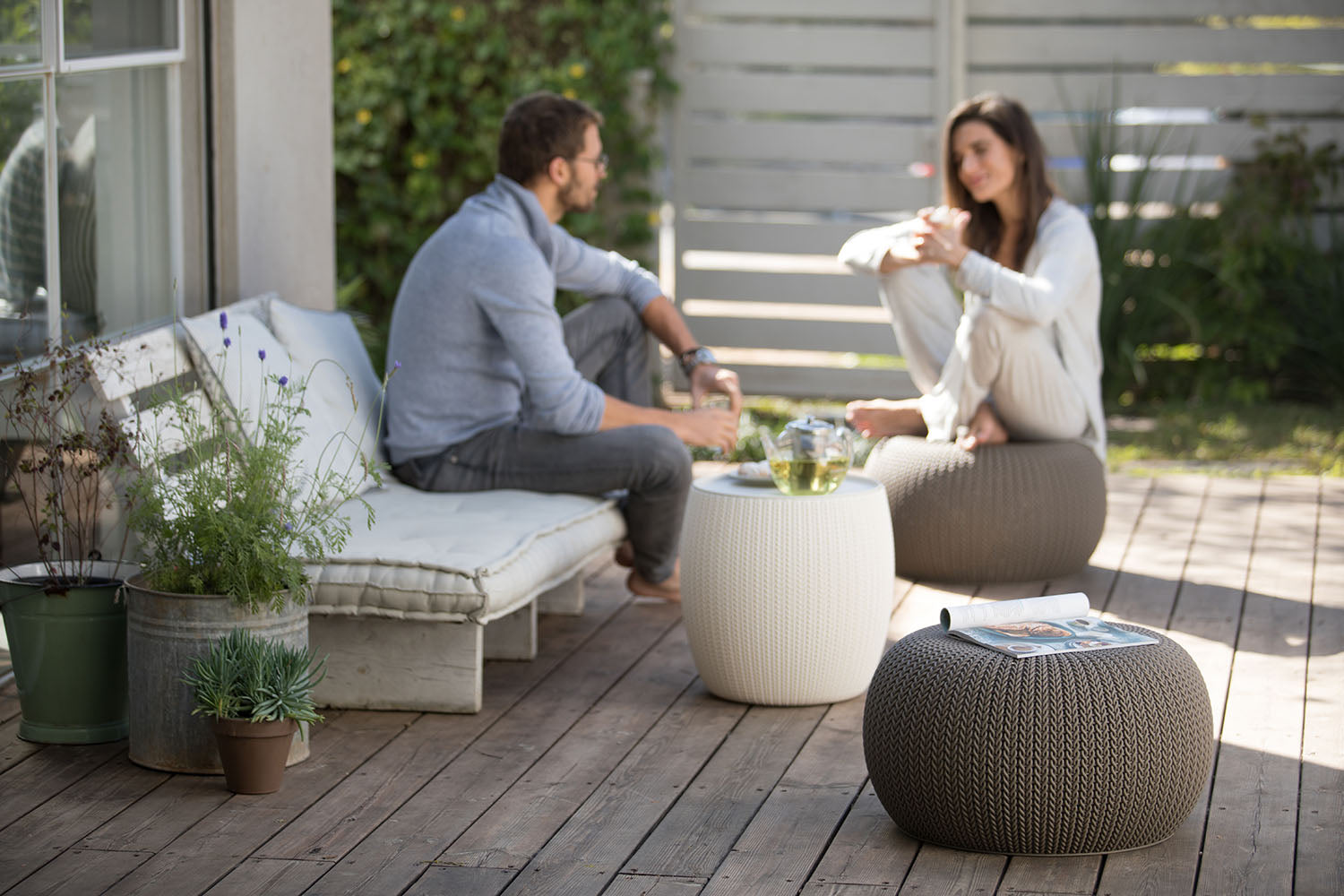 Cozy Urban Set, Resin Outdoor Patio Furniture, Knit Pattern