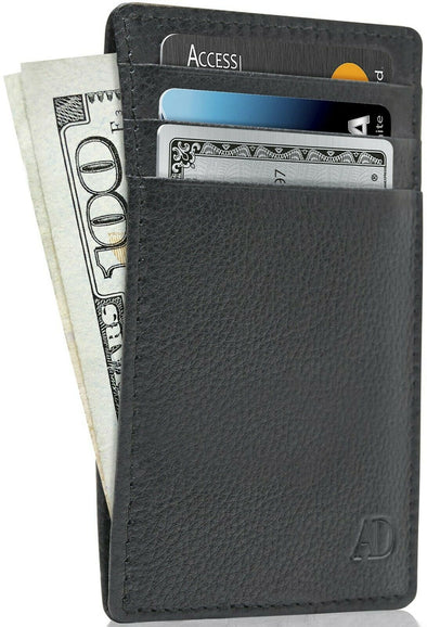 New Genuine Leather Slim Card Holder Wallets For Men - Minimalist RFID Blocking picktookshop.myshopify.com [sale] [online]
