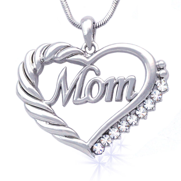 Mother's Day MOM Word Engraved Heart Love Pendant Necklace Gift For Mom