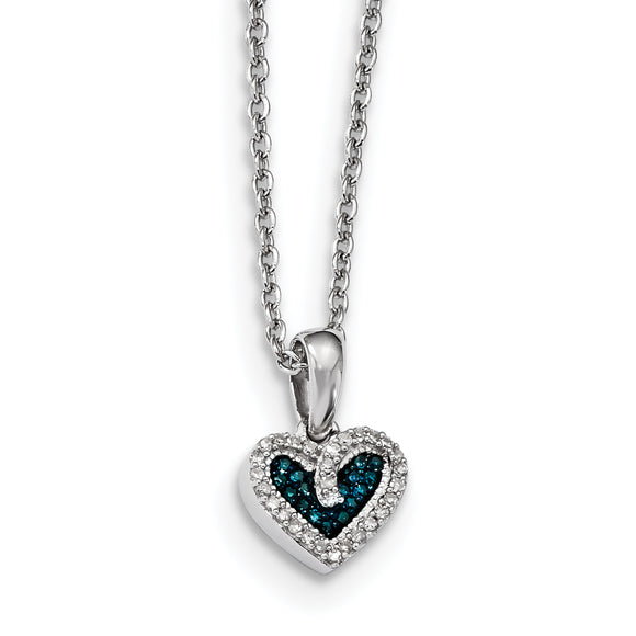 Sterling Silver 925 Rhod Plated Blue White Diamond Heart Necklace Chain VD picktookshop.myshopify.com [gogle] [sale] [online]