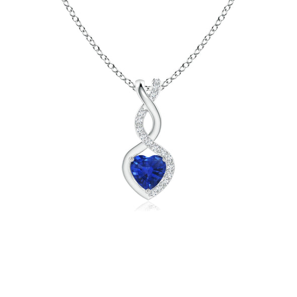 Valentine Day Sale - Sapphire Infinity Heart Pendant with Diamonds in Platinum (4mm Blue Sapphire) picktookshop.myshopify.com [gogle] [sale] [online]