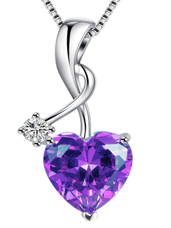 Sterling Silver 3.16ct Heart Cut Simulated Amethyst Pendant Necklace picktookshop.myshopify.com [gogle] [sale] [online]