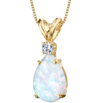 "1 ct Pear Shape Created White Opal and Diamond Pendant in 14K Yellow Gold, 18"" picktookshop.myshopify.com [gogle] [sale] [online]"