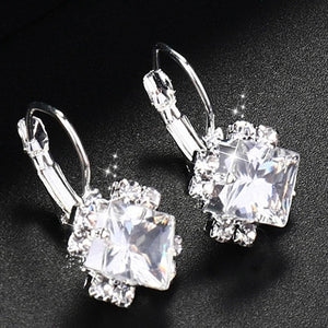 Fashion Silver Color Square Drop Earrings