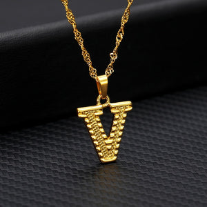 Gold Initial Letter Necklace For Women Stainless Steel A-Z Alphabet