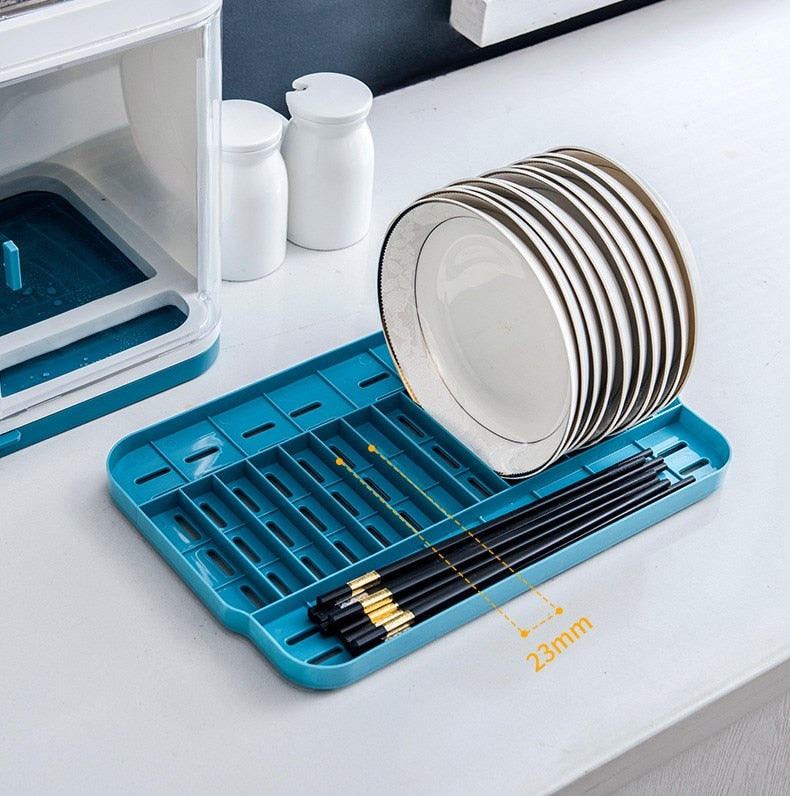 Plastic Kitchen Bowl Dish Rack with Lid for Tableware Chopsticks Drain Racks  Holder