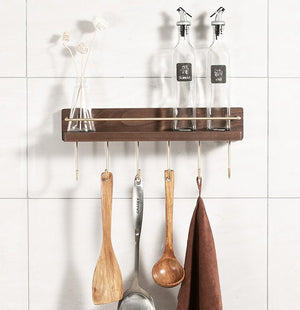 Solid wood kitchen rack wall-mounted punch-free household seasoning kitchenware storage storage shelf