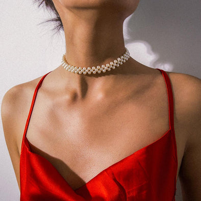 Round Pearl Choker Collar Statement Clavicle Chain Necklace For  Women