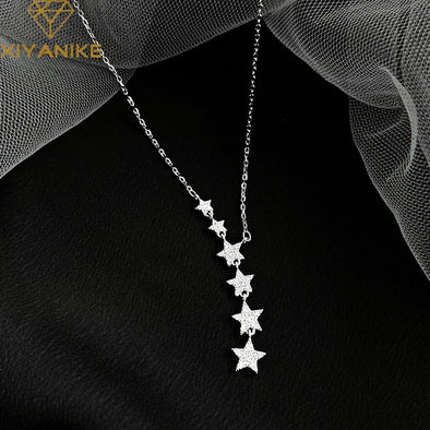 Silver Star Pendant Necklace Charm Women Wedding Party