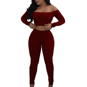 Two Piece Set Drawstring Off Shoulder Women Tracksuit