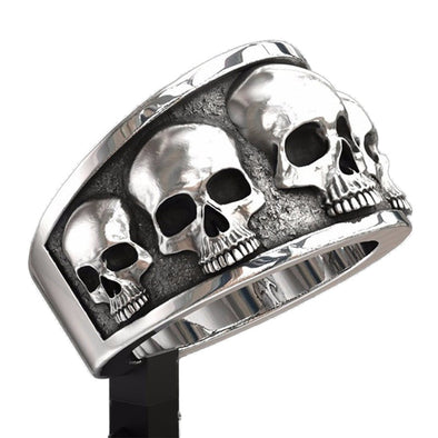 Retro Gothic Punk Style Men Rings Trendy Skull  Rings Biker