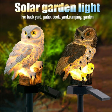 2 Colours Outdoor Garden Sculptures Lamp Owl