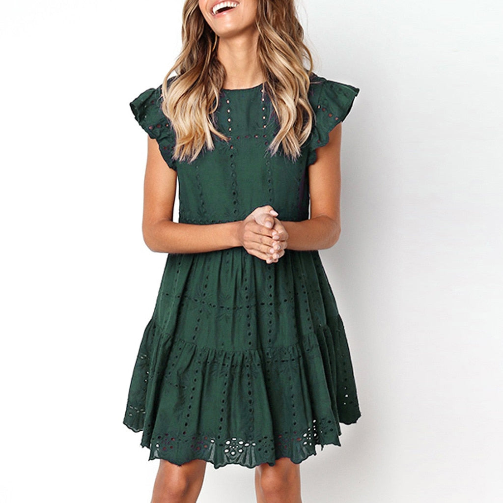 Hollow Out mini woman basic O-Neck dresses