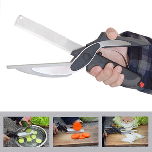 Stainless Steel Kitchen Scissors 2 in 1 Cutting Board Chopper Clever Fruit Vegetable