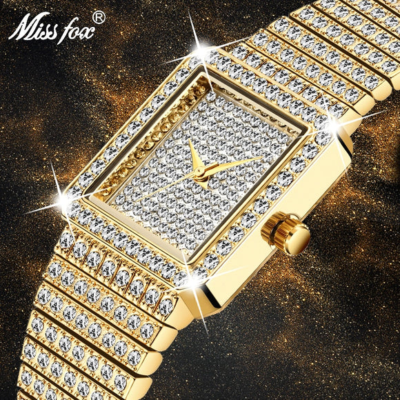 Diamond Watch For Women Luxury Brand Ladies Gold Square Female Iced Out Watch