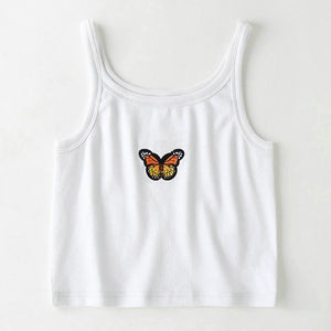 Summer Sexy Butterfly Short Slim White Y2K E-girl Tops