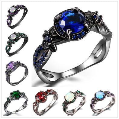 Black Gun Plated Natural Crystal Birthstone Women Rings