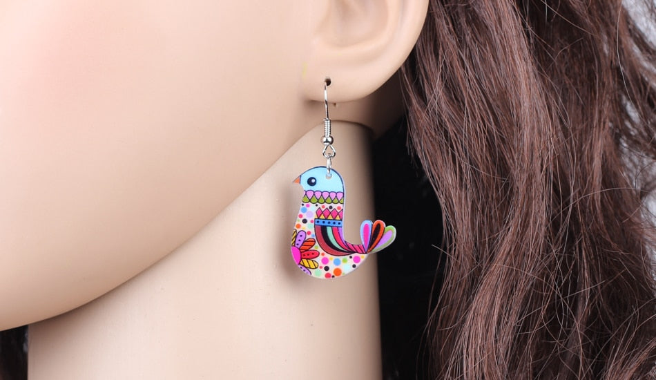 Acrylic Flying Voilet Sabrewing Hummingbird Bird Earrings