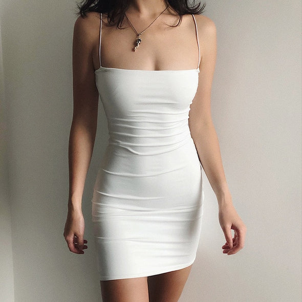 White Sexy Dress Women Spaghetti Strap Dresses 2021