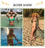 Women Solid Bikini Set Sexy Suit High Cut Swimsuit