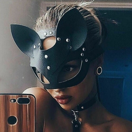Halloween Sexy PU Leather Cat Mask For Women
