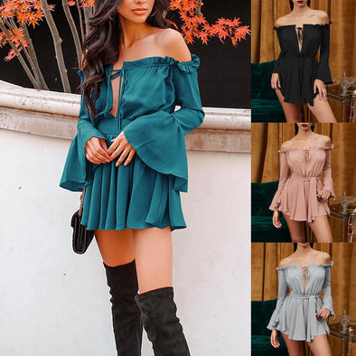 Women Summer Party Clothes Neck Pleated Sexy  Dress picktookshop.myshopify.com [sale] [online]