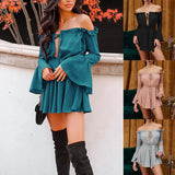 Women Summer Party Clothes Neck Pleated Sexy  Dress