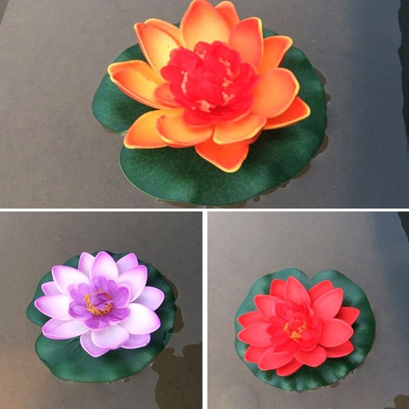 3 Pcs Floating Lotus Mixed Color Artificial Flower for pool