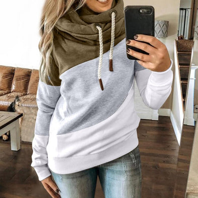 Ladies Solid Hooded Turtleneck Long Sleeve Sweatshirt