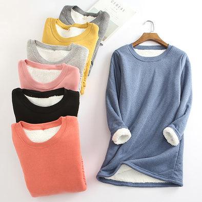 Winter Women Thick Fleece Sweatshirt Velvet Warm Solid O-neck