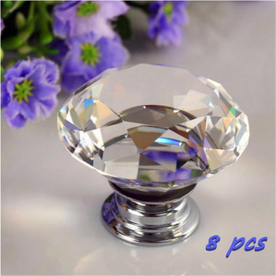 Portable Furniture Handle Diamond Crystal Glass Alloy Door Drawer