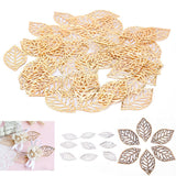 50pcs Craft Hollow Leaves Pendant Jewelry Accessories